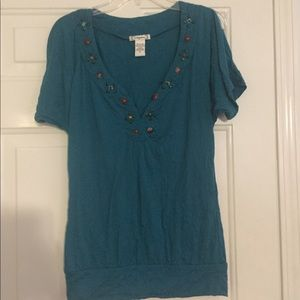 Blue Blouse with Beaded Neckline